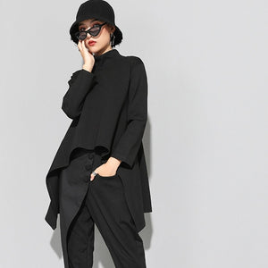 Stand Collar Irregular Hemline Black Sweatshirt Women's Long Sleeve Hoodie