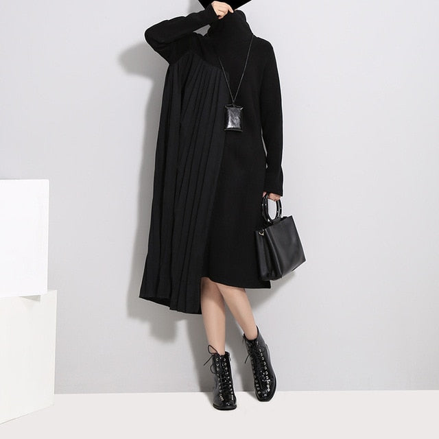 New Spring High Collar Long Sleeve Solid Color Black Pleated Split Joint Irregular Loose Dress