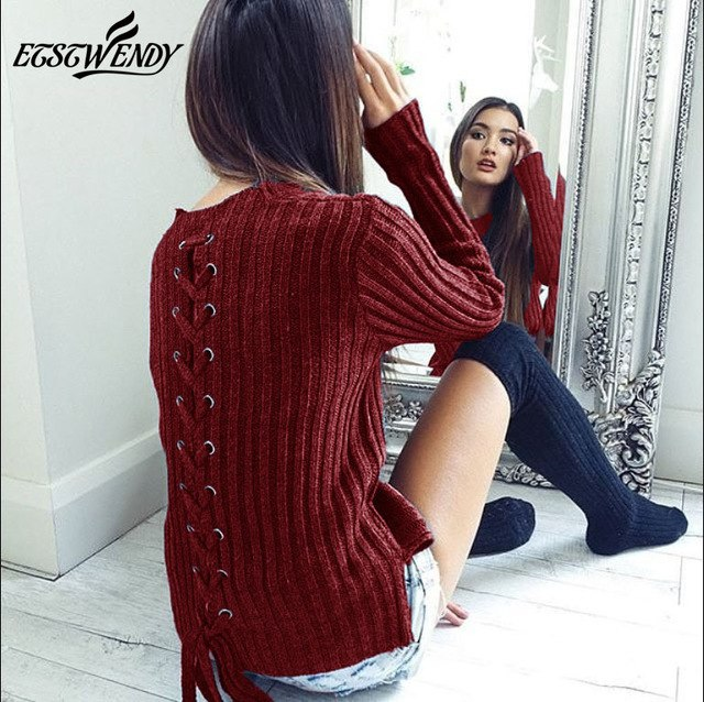 Warm Long Sleeve O-Neck Bandage Black Gray Casual Sweater Female Lace up Sweater Autumn Fashion Women Clothes