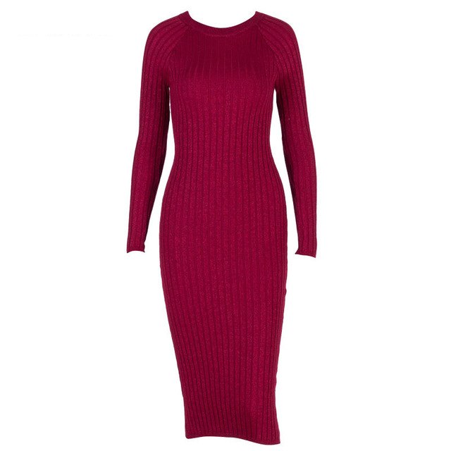 Knitted Dresses Round Neck Long Sleeve Bodycon Pencil Midi Sweater Dress