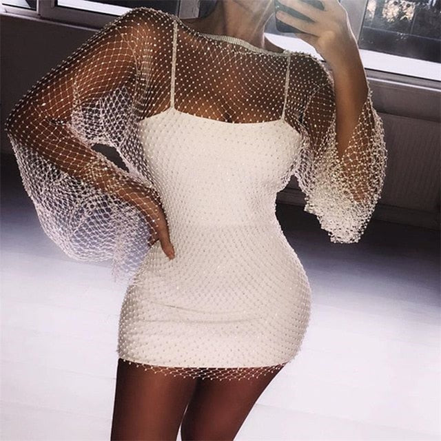 Diamonds Mesh Patchwork Crochet Hollow Out Rhinestone Long Sleeve See-through Wrap Mini Dress