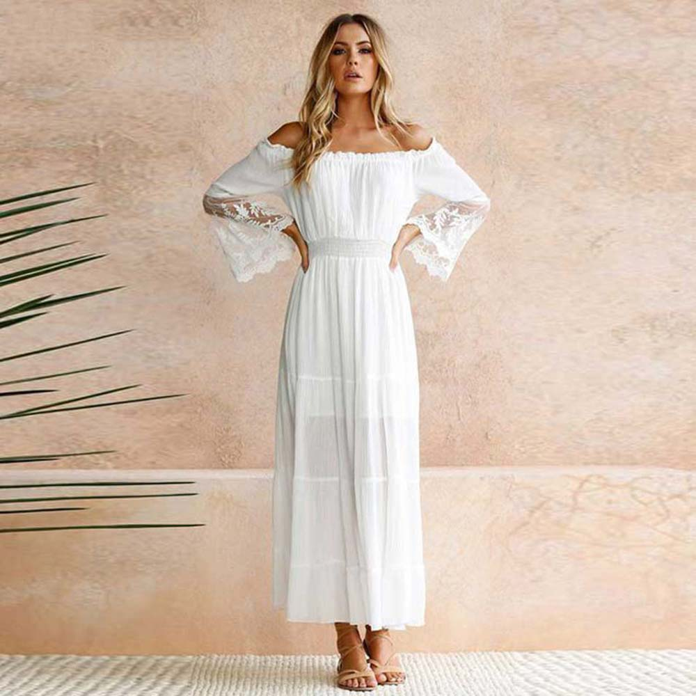 Strapless Long Sleeve Loose Sexy Off Shoulder Lace Boho Chiffon Maxi Dress