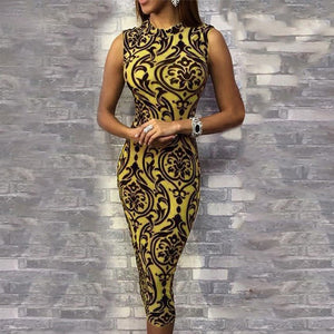 Women O Neck Vintage Print Bodycon Dress Sleeveless Dresses