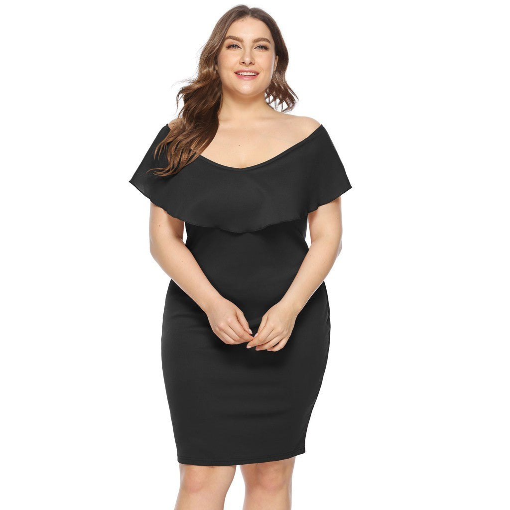 Women Plus Size Sexy Cold Shoulder Dress Solid Ruffle Pleated Mini Dress