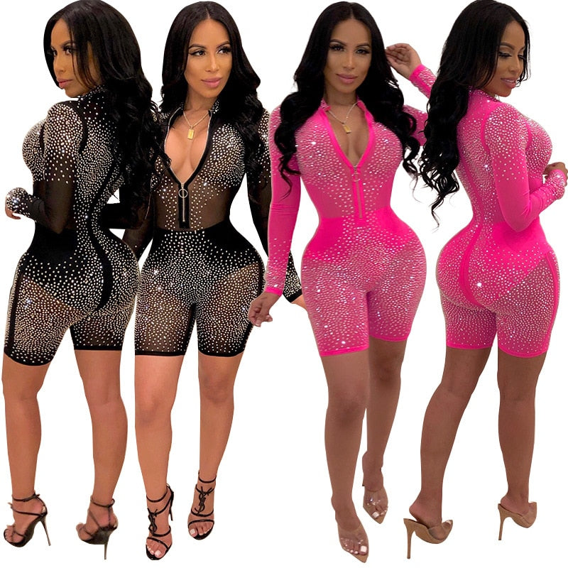 Sexy Mesh Glitter Rhinestones Long Sleeve Playsuit  Short Transparent Zipper Jumpsuit Romper