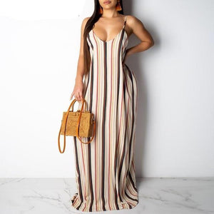 Sexy Spaghetti Strapped Boho Printed Elegant  Retro Maxi Dress