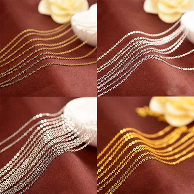 5 Meters Gold Silver Rhodium Antique Bronze Color Bulk Chains 1.5mm 2mm Copper Link Extention Chains DIY Jewelry Making Necklace