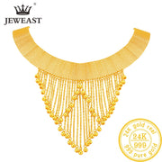 Beautiful Pure Gold Necklace Real AU 999 Solid Gold Chain, Upscale Trendy Classic Fine Jewelry