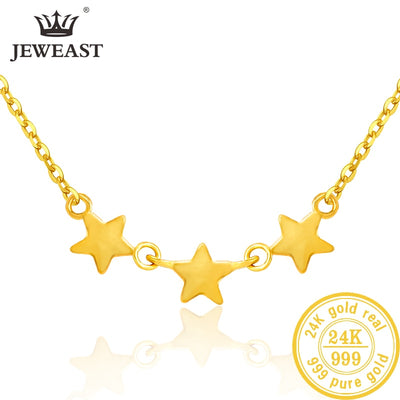 Beautiful 3 Star 24K Pure Gold Necklace Real AU 999 Solid Gold Chain for Women
