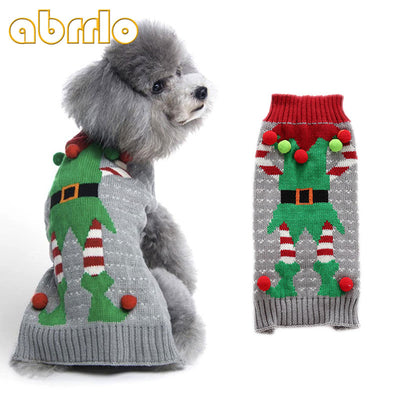 Abrrlo Christmas Pet Dog Puppy Sweater Clothes Xmas Clown Dress Up  Printed Coat Costumes For Small Dogs Chihuahua Pullover