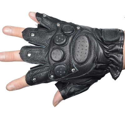 KUYOMENS Summer Men and Women Fingerless Gloves Tactical Half Finger Glove Unisex Adult Fingerless Mittens Real Genuine Leather