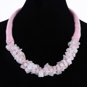 Girl's Lovely Pink Natural Stone Beaded Rope Necklace Fashionable Summer Wedding Costume Necklace Hand-made Choker Necklace