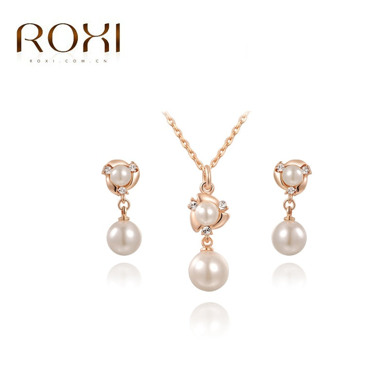 ROXI Vacation  Simulated Pearl Hand Made Jewelry Sets Rose Gold Color Stud Earrings Necklace Pendant Fashion Jewelry