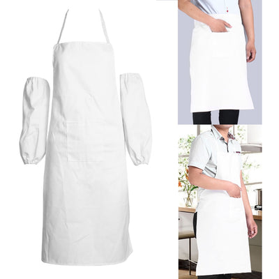 New White Universal Bib Apron with  Pockets Kitchen Restaurant Cooking Apron Half/Whole Body For Chef Waiter Kitchen Accessary