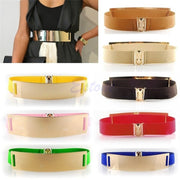 Gold Metal Elastic Mirror Golden Metal Waist Belt Metallic Bling Plate Wide Band For Women Ladies Accessories-448E
