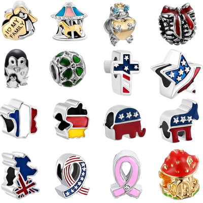 free shipping 1pc silver or gold plat  european family frog flag... big hole  bead charm fit pandora style bracelet mix001