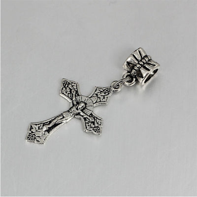 free shipping 1pc European antique silver cross bead pendant charms Fits Pandora Charm Bracelets PCA014