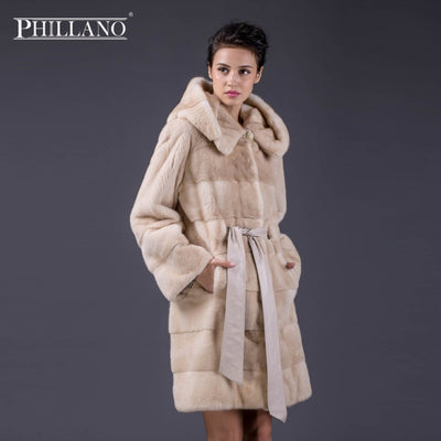 PHILLANO New Fashion Long Hooded 100% Real Mink Fur Coat Women Winter Natural Mink Fur Jacket Luxury Imported Fur Coat 13002M-90