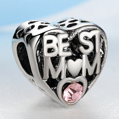 European Cute Pink Crystal Heart Best Mom Silver Plated DIY Bead Charms Fit Bracelets & Bangles Necklace Women Jewelry