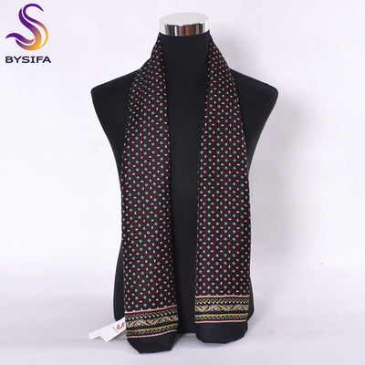 [BYSIFA] Male Small Square Plaid Scarves Apparel Accessories 100% Mulberry Silk Long Scarves Black,Navy Blue,Wine Red 160*26cm