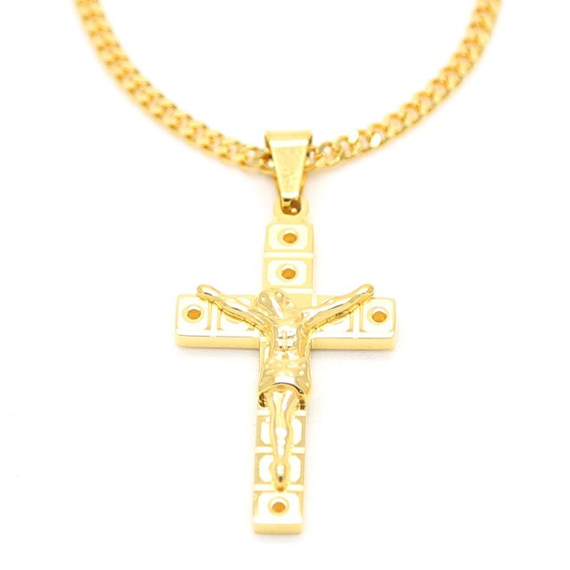 Christian Religious Faith Jewelry Men's Stainless Steel Holy Spirit Jesus Pendant Necklace Gold Chain Women Hand Made Jewelry
