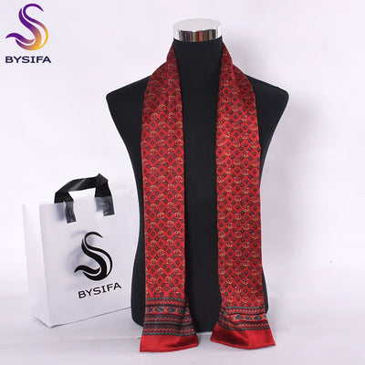 [BYSIFA] Frence Male Scarves New Design Plaid Dot Chain Men Long Silk Scarves Brand Pure Silk Satin Men Cravat Scarves 160*26CM