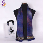 [BYSIFA] Winter Blue Plaid Men Scarves 2016 Fashion Accessories Business Blue Silk Scarf High Top Brand Long Scarves 160*26cm