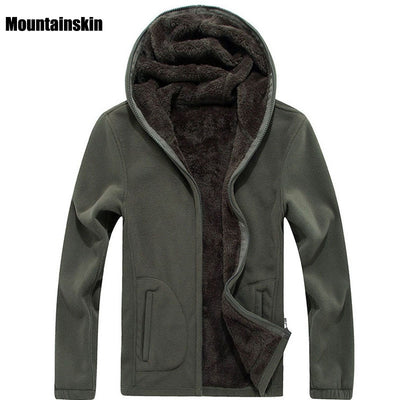 Mountainskin 7XL Winter Men's Jackets Thick Fleece Hooded Hoodies Men Sweatshirt Solid Casual Male Coats Brand Clothing SA116