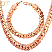 Gold Color Chain Necklace And Bracelet Set Wholesale 9mm Chunky Big Long/Choker Men Jewelry Set 2017 New Fashion S1007