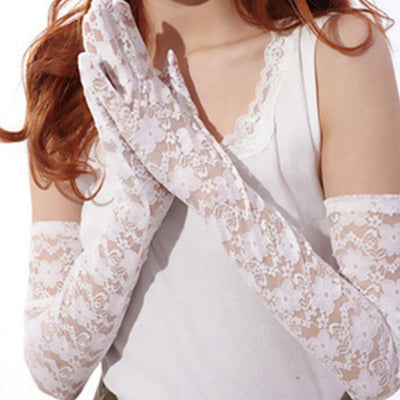 Lace Gloves Sexy Women's Mittens for party Accessories Sunscreen driving gloves lace summer long section of thin gloves