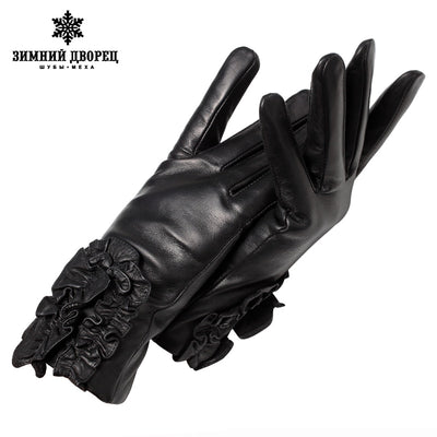 Genuine Leather gloves Luxury gloves female Fashion leather Popular gloves winter Lady style gloves women Floral design