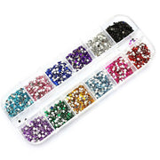 New Mix 12 Color 2mm Circle Beads Nail Art Tips Rhinestones Glitters Nail Supplies Acrylic UV Gel Gems Decoration with Hard Case