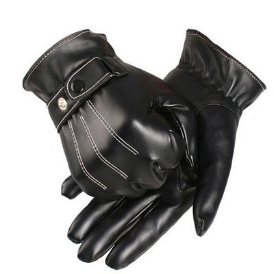Mens Luxurious PU Leather Winter Super Driving Warm Gloves Cashmere
