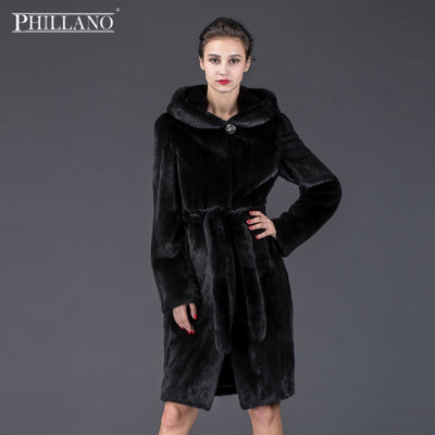 SALE Phillano High quality Real Natural Mink Fur Coat Women Winter Long Mink Fur Coat Fur Jacket YG13027B-100
