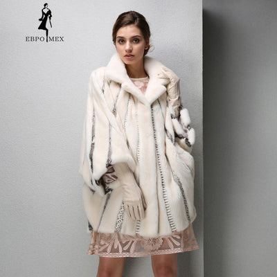Bat sleeve mink fur coat snakeskin Stitching mink coat fashion women noble fur coat High-end brand coat women