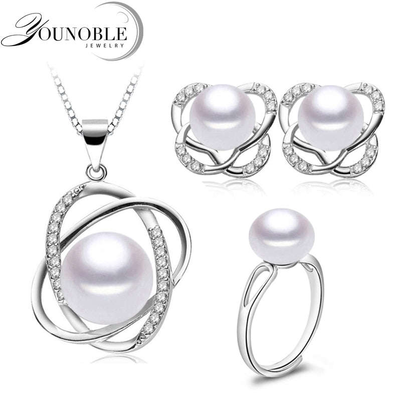 Pearl Jewelry Set,Trendy Wedding Pearl Necklace Earrings 925 Silver Find Jewelry Set For Women Mother Birthday Gifts White Pink