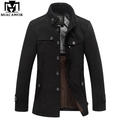 Miacawor Brand Clothing Mens Wool & Blends Autumn Winter Cashmere Men's Coat Trench Jacket Wool Coat Overcoat  MJ381