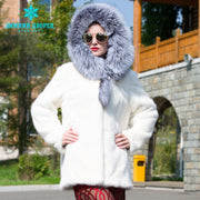 White fashion big fox fur collar fur coat  popular styles mink fur coat Genuine Leather winter jacket women Fashion Slim Fur