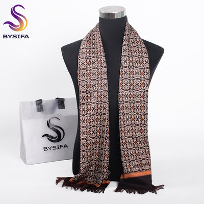 [BYSIFA] Winter Coffee Gold Men Scarves Fashion Accessories Male Warm Long Scarf Brand Business Leisure Tassel Scarves 160*26cm
