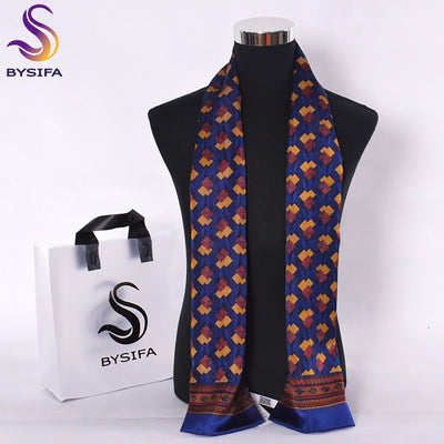 [BYSIFA] Men Big Plaid Silk Scarf Autumn Winter Male Double Layers Pure Silk Long Scarves Cravat Navy Blue And Red 160*26cm