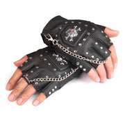 KUYOMENS Men's Faux Leather Gloves Half-finger With Metal Skull Head Rivet Casual Sport Street Dancing Cool Gloves