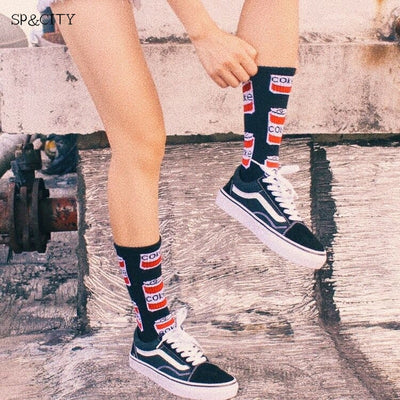 INS Style Harajuku Skateboard Socks Mens Fashion Design Coke Patterned Art Socks Male Hipster Cotton Short Happy Socks Funny Sox