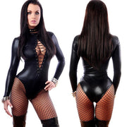 Super Sexy Adult Black PVC Leather Like Tight Coverall Bodysuits L