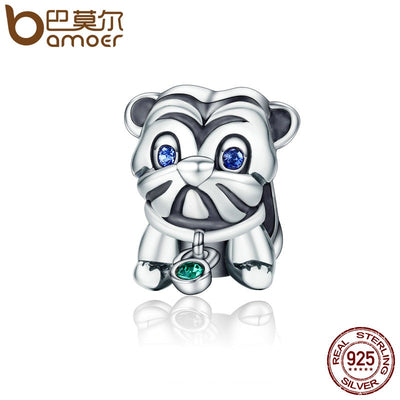 BAMOER Authentic 925 Sterling Silver Cute Puppy Animal Pug Doggy Beads fit Original Charm Bracelet DIY Jewelry Gift SCC198