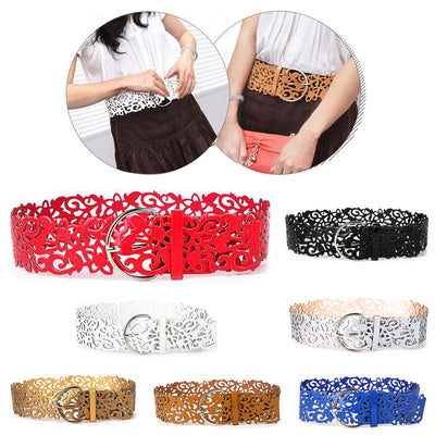 New Women Lady Vogue Elastic Wide Buckle Hollow Stretch Waistband Corset Waist Belt