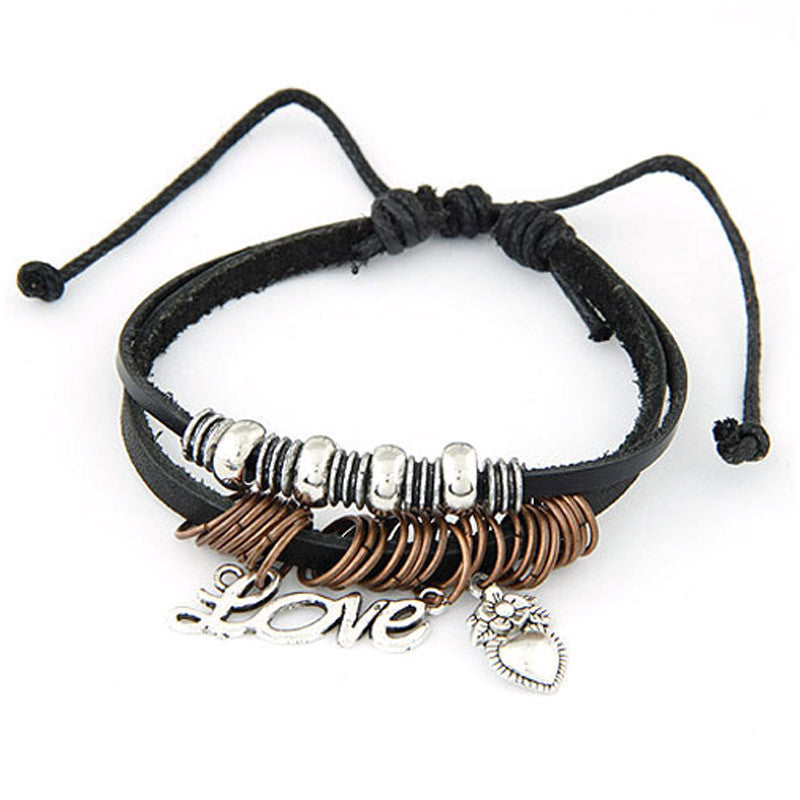 Women Men Love Bead Multilayer Leather Chain Charms Bracelet Wrist Gift BK