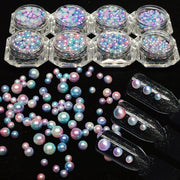 1 box Fashion 3D Nail Art Decorations Mermaid Effect Gradient Glitter Rhinestones Nail Pearl Beads Tools Circle/Semicircle CH280
