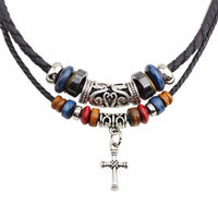 Double Braided Rope Beads Vintage Cross Adjustable Pendant Necklace
