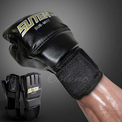 Mens Black Mittens Gloves Muay Thai Half Mitts Gloves Gym MMA