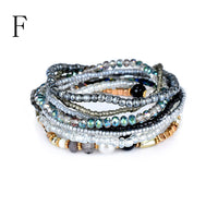 Fashion 1 Set Stretch Acrylic Beaded Bohemian Lady Bracelet Bangle A